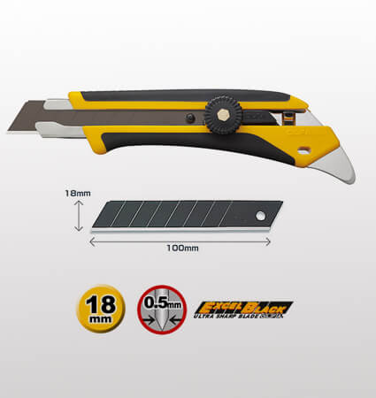 OLFA L-5/5BB Fiberglass-reinforced ratchet-lock utility knife